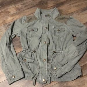 Candies Cinch Waist Military Jacket Olive Green